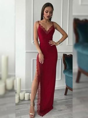 Sheath/Column V-neck Sleeveless Floor-Length Lace Chiffon Dresses