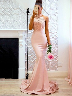Trumpet/Mermaid Sleeveless Halter Sweep/Brush Train Lace Satin Dresses
