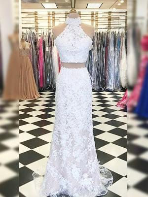 Sheath/Column Lace Applique Halter Sleeveless Sweep/Brush Train Two Piece Dresses