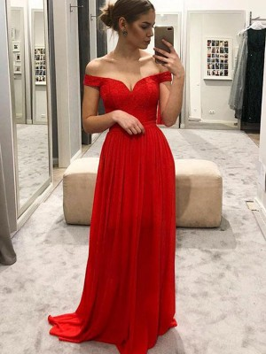 A-Line/Princess Sleeveless Off-the-Shoulder Floor-Length Ruffles Chiffon Dresses