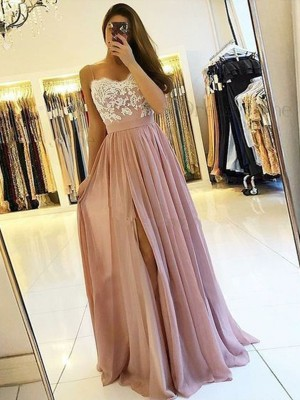 A-Line/Princess Sleeveless Spaghetti Straps Floor-Length Applique Chiffon Dresses