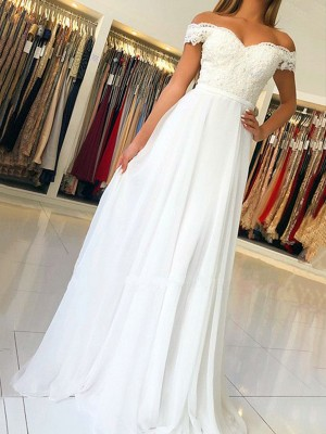 A-Line/Princess Sleeveless Off-the-Shoulder Floor-Length Applique Chiffon Dresses
