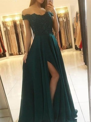 A-Line/Princess Off-the-Shoulder Sleeveless Floor-Length Beading Chiffon Dresses