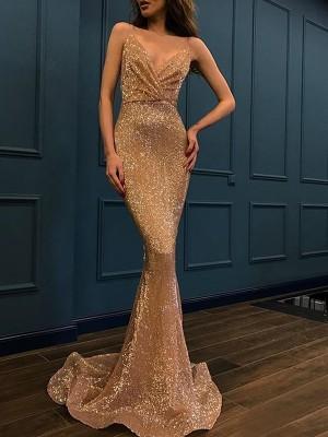 Trumpet/Mermaid Sleeveless Spaghetti Straps Sweep/Brush Train Sequins Dresses
