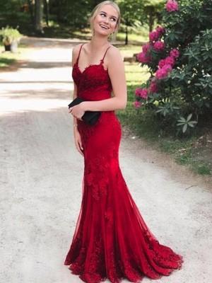 Trumpet/Mermaid Sleeveless Spaghetti Straps Sweep/Brush Train Applique Lace Dresses