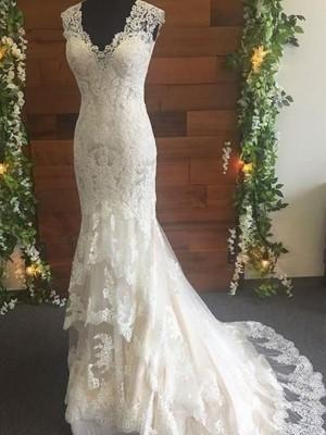 Trumpet/Mermaid Tulle Lace V-neck Sleeveless Sweep/Brush Train Wedding Dresses