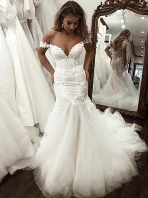 Trumpet/Mermaid Tulle Applique Off-the-Shoulder Sleeveless Sweep/Brush Train Wedding Dresses