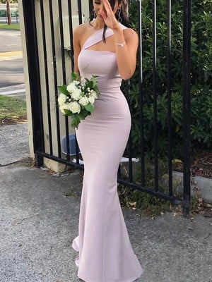 Sheath/Column Sleeveless One-Shoulder Floor-Length Stretch Crepe Bridesmaid Dresses