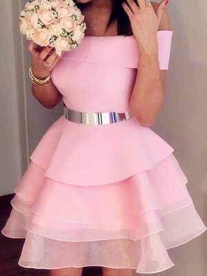 A-Line/Princess Organza Sash/Ribbon/Belt Off-the-Shoulder Sleeveless Short/Mini Homecoming Dress