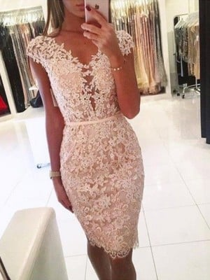 Sheath/Column Lace V-neck Sleeveless Knee-Length Homecoming Dress