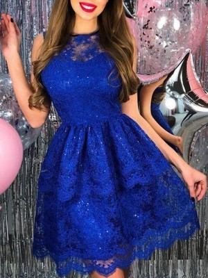 A-Line/Princess Lace Applique Sheer Neck Sleeveless Short/Mini Homecoming Dress