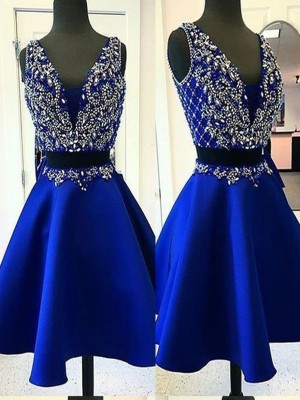 A-Line/Princess Satin Beading V-neck Sleeveless Short/Mini Two Piece Homecoming Dress