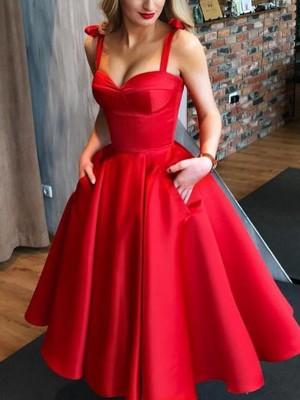 A-Line/Princess Satin Bowknot Straps Sleeveless Tea-Length Homecoming Dresses