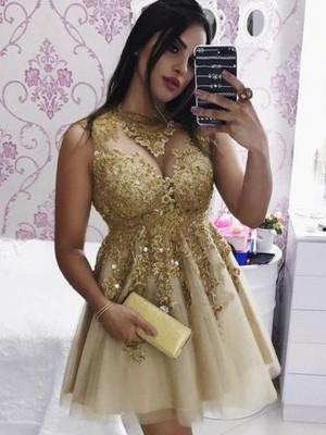 A-Line/Princess Tulle Applique Sheer Neck Sleeveless Short/Mini Homecoming Dresses