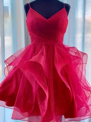 A-Line/Princess Tulle Spaghetti Straps Sleeveless Ruffles Short/Mini Homecoming Dresses