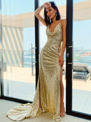 A-Line/Princess Ruched Sequins Sleeveless Halter Sweep/Brush Train Dresses