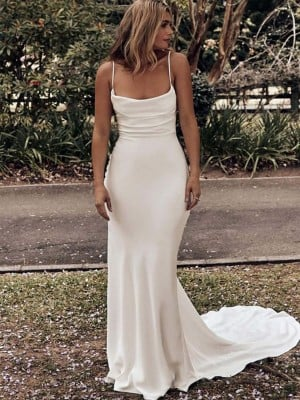 Sheath/Column Ruched Spaghetti Straps Satin Sweep/Brush Train Sleeveless Wedding Dresses