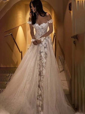 A-Line/Princess Applique Off-the-Shoulder Tulle Sweep/Brush Train Wedding Dresses