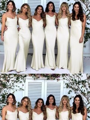 Sheath/Column Spaghetti Straps Ruched Silk like Satin Sleeveless Floor-Length Bridesmaid Dresses