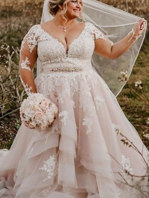 Ball Gown Long Sleeves Sweep/Brush Train Tulle Applique V-neck Plus Size Wedding Dresses