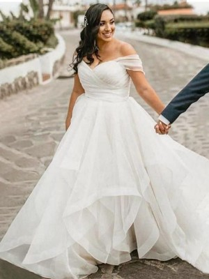 A-Line/Princess Ruffles Sweep/Brush Train Organza Sleeveless Off-the-Shoulder Plus Size Wedding Dresses