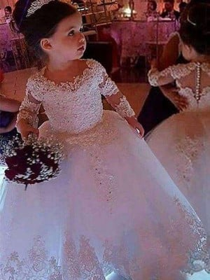 Ball Gown Tulle Applique Long Sleeves Scoop Floor-Length Flower Girl Dresses