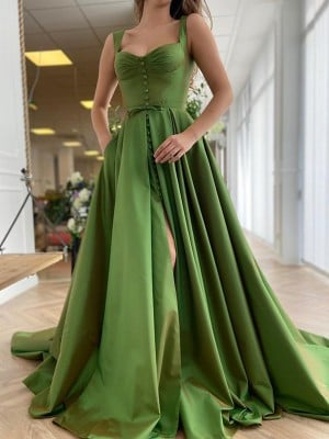 A-Line/Princess Sweep/Brush Train Straps Sleeveless Satin Ruffles Dresses