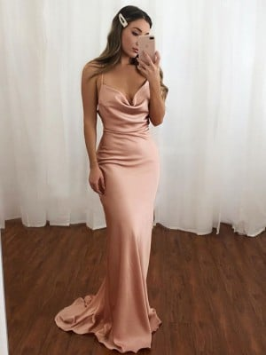 Sheath/Column Spaghetti Straps Satin Ruched Sleeveless Sweep/Brush Train Dresses