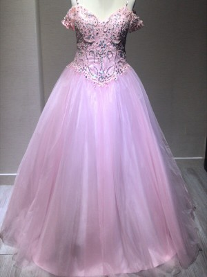 Ball Gown Sleeveless Spaghetti Straps Tulle Crystal Floor-Length Dresses