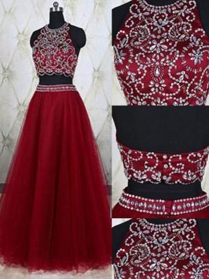 A-Line/Princess Sleeveless Jewel Tulle Beading Floor-Length Two Piece Dresses
