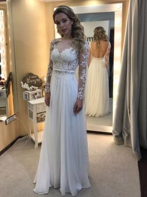 A-Line/Princess Bateau Floor-Length Long Sleeves Lace Chiffon Wedding Dresses