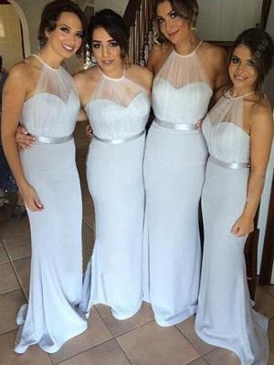 Sheath/Column Sleeveless Sash/Ribbon/Belt Floor-Length Halter Elastic Woven Satin Bridesmaid Dresses