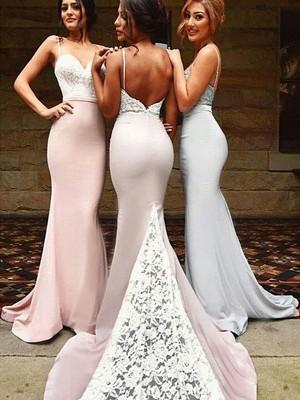 Trumpet/Mermaid Sweetheart Sleeveless Sweep/Brush Train Lace Spandex Bridesmaid Dresses