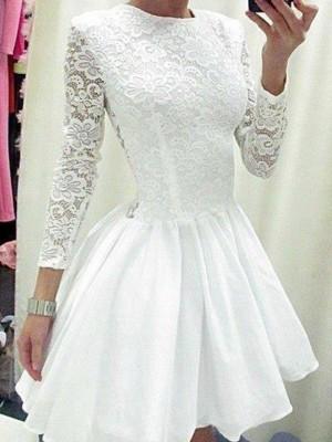 A-Line/Princess Long Sleeves Scoop Lace Chiffon Short/Mini Dresses