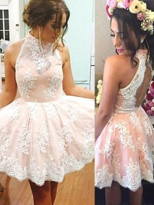 A-Line/Princess Sleeveless High Neck Lace Short/Mini Dresses