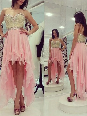 A-Line/Princess Sleeveless Sweetheart Beading Chiffon Asymmetrical Dresses