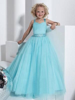 Ball Gown Straps Sleeveless Crystal Floor-Length Tulle Flower Girl Dresses
