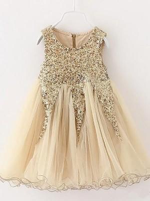 A-Line/Princess Sleeveless Jewel Sequins Tulle Short/Mini Flower Girl Dresses