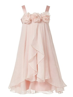 A-Line/Princess Sleeveless Straps Hand-Made Flower Chiffon Ankle-Length Flower Girl Dresses