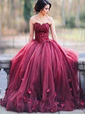Ball Gown Sleeveless Sweetheart Applique Floor-Length Tulle Dresses