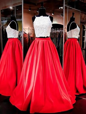 A-Line/Princess Spaghetti Straps Sleeveless Satin Floor-Length Lace Two Piece Dresses