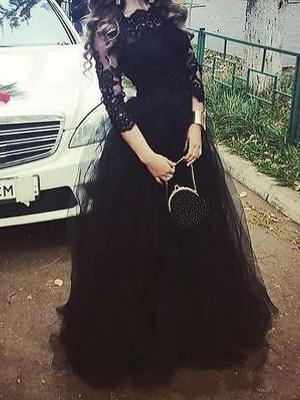 Ball Gown 3/4 Sleeves Bateau Lace Floor-Length Tulle Dresses