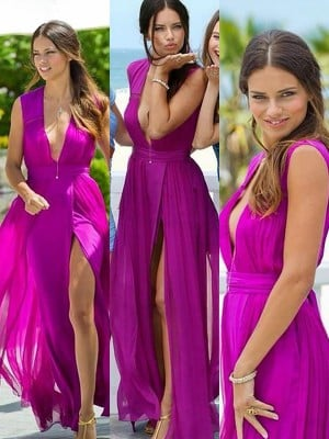 A-Line/Princess Floor-Length Chiffon Sleeveless V-neck Bridesmaid Dresses