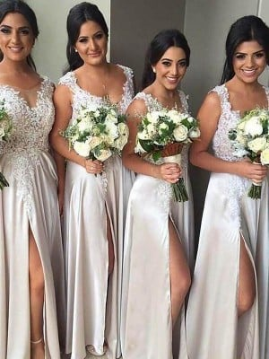 Sheath/Column V-neck Satin Sleeveless Floor-Length Bridesmaid Dresses