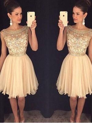 A-Line/Princess Scoop Sleeveless Short/Mini Beading Chiffon Dresses