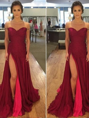 A-Line/Princess Off-the-Shoulder Sleeveless Floor-Length Chiffon Dresses