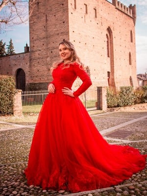Ball Gown Tulle Long Sleeves Lace Off-the-Shoulder Court Train Dresses