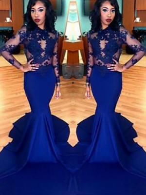 Trumpet/Mermaid Scoop Lace Satin Long Sleeves Sweep/Brush Train Dresses