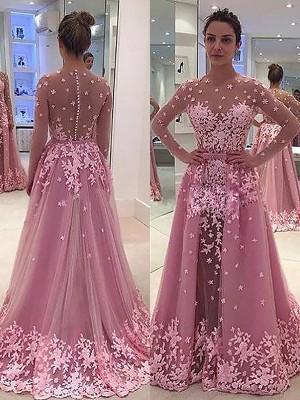 A-Line/Princess Scoop Long Sleeves Applique Tulle Floor-Length Dresses