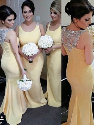 Trumpet/Mermaid Scoop Sleeveless Floor-Length Beading Satin Bridesmaid Dresses
